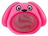 iCutes Tier Bluetooth Lautsprecher Dog (Mini Kinder Lautsprecher Box in tierischem Design & Freisprechfunktion) Pink