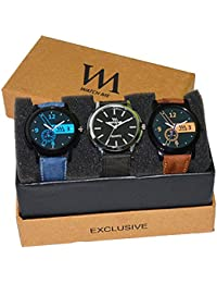 Watch Me Analogue Multi-colour Dial Men's Watch-WMC-004-WMD-007-WMC-001,(Set Of 3, Formal-Casual-Semi Formal Watches)