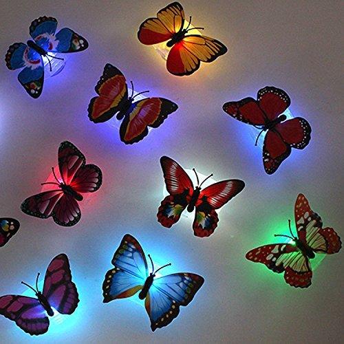 6 pcs cute kreative Bunt Schmetterling LED Nachtlicht Wandleuchten romantische mehrfarbigen Nachtlicht kleine Nightlight Baby Toy Geschenk Kinder Schlafzimmer Nachttischlampen Festival Party Dekoration