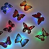 6 pcs cute kreative Bunt Schmetterling LED Nachtlicht mit Saugnapf Wandleuchten romantische mehrfarbigen Nachtlicht kleine Nightlight Baby Toy Geschenk Kinder Schlafzimmer Nachttischlampen Festival Party Dekoration
