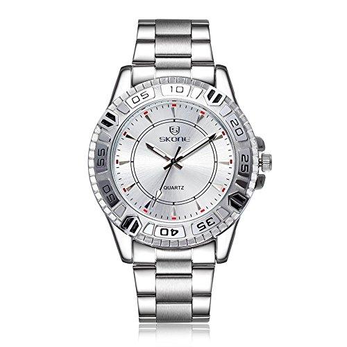 SKONE Herren Stahl Business Armbanduhr drehbar um Uhr Schwarz Zifferblatt sj505102