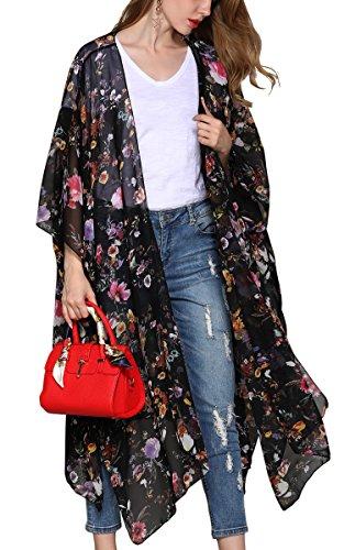 Hibluco Damen Florale Kimono Cardigan Strand Chiffon Bluse Tops Bikini Cover Up (Medium, K63)