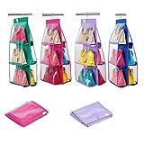 takestop ORGANIZZATORE PORTA APPENDI SALVASPAZIO borse 6 POSTI BORSA PVC DA ARMADIO ACCESSORI ESPOSITORE APPRENDIBILE colore casuale