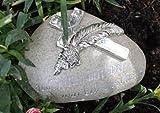 Grabschmuck mit Kreuz aus Polyresin grau- mit dezenter Aufschrift 'Jeder Tag mit Dir war ein Geschenk'