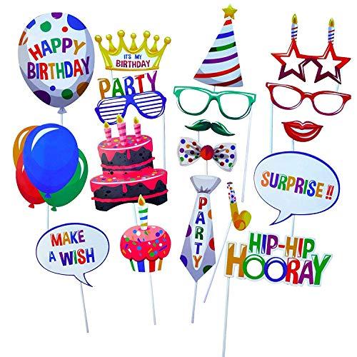 Gshy Fotobooth Geburtstag Masquerade Happy Birthday Dekoration Zubehör Kinder Brille Schnurrbärte Lippen Schleifen Hüte Kuchen 22 Stück
