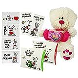 COM-FOUR® Geschenk-Set zum Valentinstag und Geburtstag - Blechkarten, Plüsch-Teddy, Geschenktaschen, niedliche Taschentücher (9-tlg.)