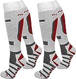 normani 1 oder 2 Paar Ski-/Snowboardsocken Thermo Unisex atmungsaktiv Farbe Weiß/Rot/2er Größe 39/42