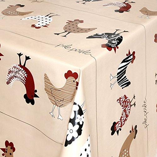 Wachstuch Tischdecke Gartentischdecke mit Fleecerücken Gartentischdecke, Pflegeleicht Schmutzabweisend Abwaschbar Hühner Beige 140x 140 cm - Größe wählbar