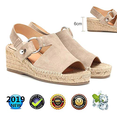 sandals Retro WedgesPeep Toe Women Buckle Ankle Strappy for Ladies Summer Fashion Flat Lace Up 6 cm High Heels Leather Slingback Platform Shoes Casual Comfy Espadrilles Beige - Ankle Strap Slingbacks
