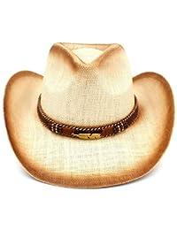 Shuo lan hu wai New Cappello da Cowboy Occidentale della Paglia delle Donne  degli Uomini con la Banda delle Foglie… 4d78c5104b80