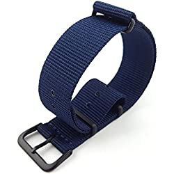 G10 Nato Military Blue Nylon Watch Strap Band Black Buckle 16mm