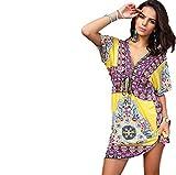 Ducomi® Boho - Kleid-Knie-Damen Ethnic Prints - Perfekt für Das Meer und Informelle Gelegenheiten (L, Gelb)