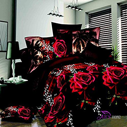 dfsgrfvf Bettwäsche-Set 3D Rot Rose Schwarz Haut Blumendruck Bettwäsche-Set Queen-Size- 3D- Bettwäsche-Sets (Tröster Nicht inbegriffen) Bettwäsche-Sets (Rose Schwarz Tröster Set Und Rote)