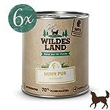 Wildes Land | Nassfutter für Hunde | Huhn PUR | 6 x 800 g | mit Distelöl | Getreidefrei & Hypoallergen | Extra hoher Fleischanteil von 70% Akzeptanz und Verträglichkeit