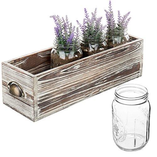 MyGift Rustikal Holz Übertopf Box mit 4Glas klar Mason Gläser -