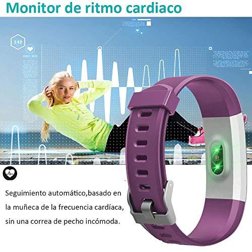 Imagen de yamay pulsera actividad con pulsómetro mujer hombre, monitor de actividad deportiva, ritmo cardíaco, impermeable ip67, reloj fitness, smartwatch con podómetro, color púrpura alternativa