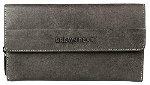 Brown Bear Geldbörse Damen Leder Schwarz Stone Vintage groß viele Fächer Reißverschluss 63 gr