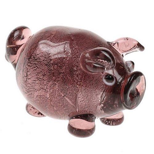 Morado bebé Pig Animal adorno de cristal regalo Curio pantalla