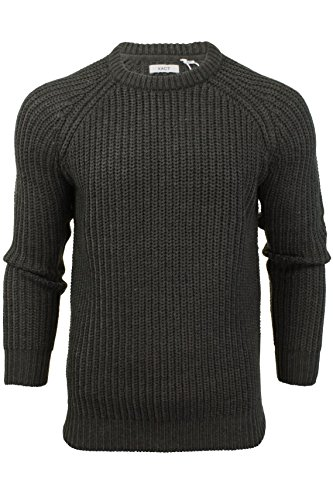 Xact Mens Jumper Fashion Chunky Fisherman Knit with Elbow Patches