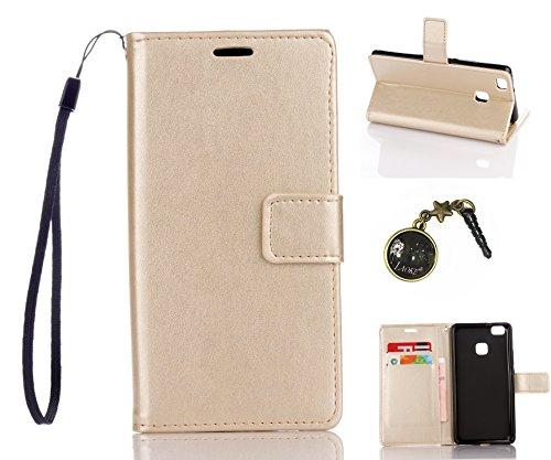 Preisvergleich Produktbild für Smartphone P9 Lite Hülle,Hochwertige Kunst-Leder-Hülle mit Magnetverschluss Flip Cover Tasche Leder [Kartenfächer] Schutzhülle Lederbrieftasche Executive Design +Staubstecker (5DD)