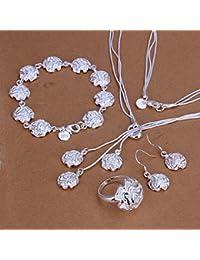 joyliveCY 2016la moda mujer elegante 925bañado en plata joyería Set Collar Pulsera Anillo Gancho, cadenas de eardrop tres rosas