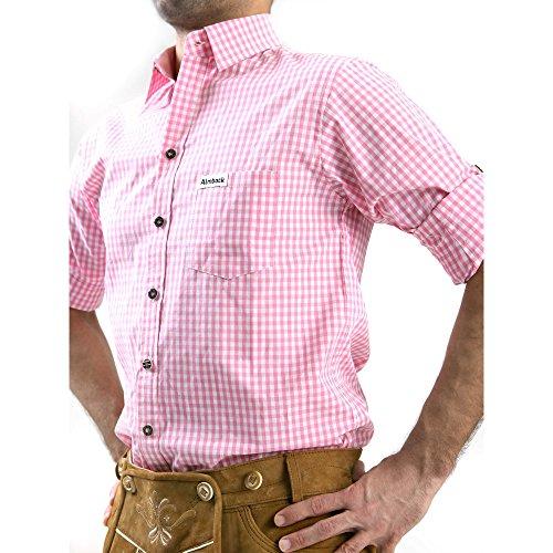 ALMBOCK Trachtenhemd Herren kariert | Slim-fit Männer Hemd pink rosa kariert | Karo Hemd aus 100% Baumwolle in den Größen S-XXXL - 2