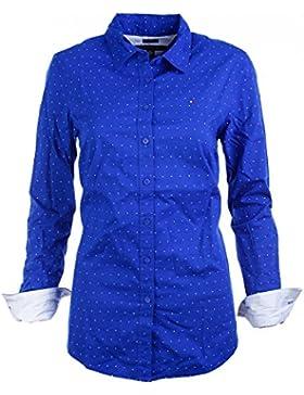 Tommy Hilfiger Damen Bluse Business Hemd Damenbluse blau gepunktet Größe S