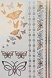 Metallic Tattoo Aufkleber Schmetterling Armband Schmuck Tattoo Gold und Silber Tattoo S936