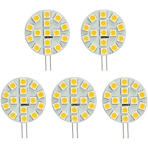 hero-led Side Pin T3G4Base Bi Pin JC alogena a LED Xenon lampadina di ricambio, 12V ac/dc o 24V DC, lampade da scrivania, con luci, Puck Luci, Luci under-counter, sottopensili luci, Marine, barche, yacht, Accent, display, paesaggio e illuminazione generale, 15SMD LED, 30W, confezione da 5, Daylight White 5000K, G4, 3.00 wattsW 12.00 voltsV
