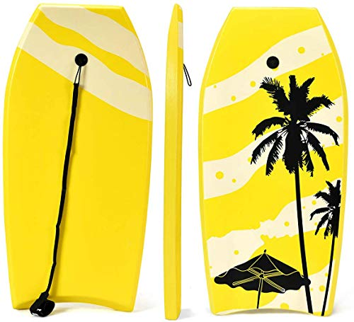 COSTWAY Bodyboard, Schwimmbrett Schwimmboard, Surfbrett Kinder, Surfboard, Sup-Board 104x52x6cm (gelb)