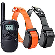 SF Net Trading Impermeable Anti ladridos Collar de Adiestramiento 300 Metros para Perros Vibración Remoto Adiestramiento / Sonido / Luz / Entrenamiento Collar Para Perro (Para 2 Perros)