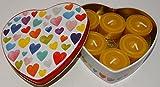 Herz Geschenk Dose mit 6 Bienenwachs Teelichter und 1 Glasschale, Valentinstag, Geburtstag, Liebe,
