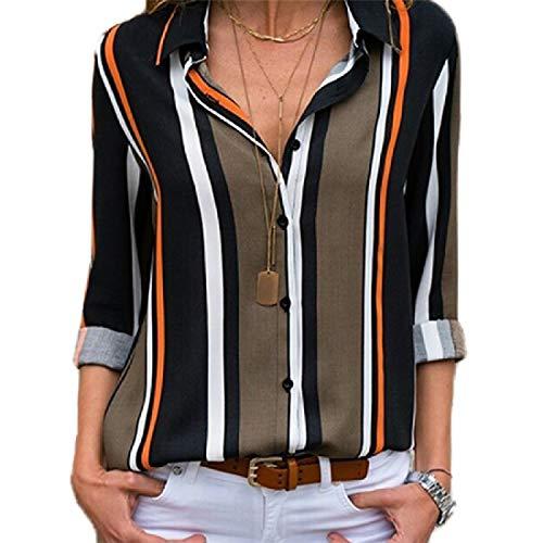 CuteRose Women's Plus-Size Spring/Fall Long-Sleeve Stylish Blouse Shirt 8 M Blue Stripe Bow Tie