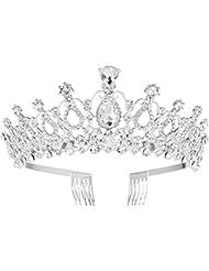 Frcolor FRCOLOR Bridal Tiara Kristall Strass Tiara Krone mit Kamm für Braut Hochzeit
