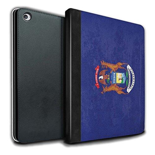 Stuff4® PU-Leder Hülle/Case/Brieftasche für Apple iPad Air 2 Tablet/Michigan Muster/Jahrgang USA-Staat Flagge Kollektion Michigan Apple