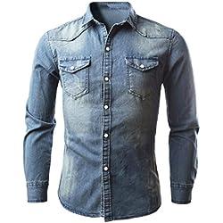 Camisa Vaquera Hombre con Botones a Presión Camisa deportivas casual de manga larga Blusa Retra Slim Tops Camiseta Otoño Primavera Invierno (M)