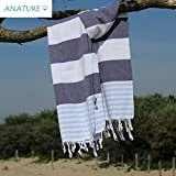 ANATURE Marina Toalla de Hammam - 100% algodón - prewashed - Super Suave - directa Uso - Toalla - Toalla de mano Backpacker - Playa - Toalla - Toalla de sauna - Baby - Turkish Towel - Pest veces - Fouta (Navy Blue/Sky Blue)