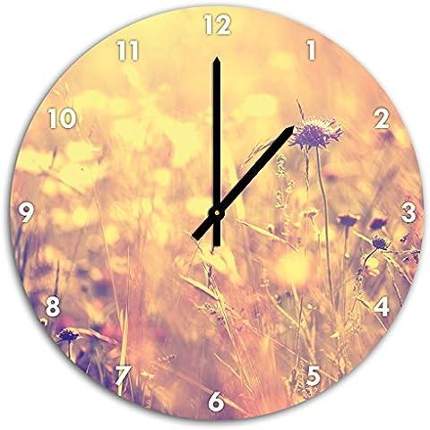 Belle erbe in luce del sole, a parete diametro 48 centimetri orologio con il nero ha sottolineato le mani e il viso, oggetti decorativi, Designuhr, composito di alluminio molto bello per soggiorno,