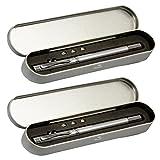 COM-FOUR® 2x 4-in-1 Kugelschreiber LED Lampe Zeigestab in Alu Geschenkbox (Silberfarben -2 Stück)