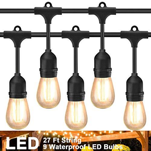etten, 27Fuß 9 Hängenden Sockel Schnur Licht mit LED Birnen, Wasserdicht String Lights für Außen Deko Patio Café Garten Hinterhof Party Hochzeit ()