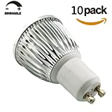 SmartSun Dimmable Long Neck GU10 6W LED Spotlight Beautiful 4000K Daylight White Bulb 50W Halogen Equivalent,60°Beam Angle,Ultra Bright LED Light Bulbs,For Ceiling Lighting,Tracking Lighting or Recessed Lighting,Pack of 10