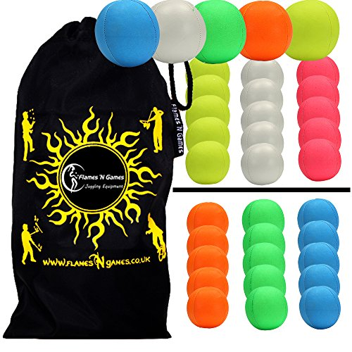 Thud Pro SMOOTHIE Jonglierbälle 5er Set - Profi Beanbag Bälle (LEDER) + Reisetasche! Komplett-Set Ideal Für Anfänger und Auch Für Profis! (Mischfarbe)
