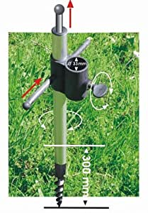 Supporto per ombrellone in alluminio con punta di fibra di vetro, inossidabile, per argilla, prato, sabbia, ghiaia, universale, per bastoni fino a circa 33 mm, Holly STABIELO