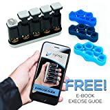 Finger Strengthener + 3 Finger Stretch Bands w/ Bonus Instruction eBook Guide. Perfect for Guitar, Piano, Rock Climbing, and Physical Therapy - Fully Adjustable + Ultra Durable by Nyma