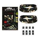 Xpand Lacci da Scarpe niente nodo in 30 colori - Lacci Elastici Piatti con Tensione Regolabile - Adatti per Tutte le Calzature (Verde CAMO)