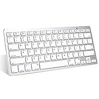 لوحة مفاتيح iPad Pro Keyboard, OMOTON Slim Bluetooth لجهاز iPad Air 2/1, iPad Mini 4/3/ 2/1, iPad 4/3/ 2, iPhone 6s/ 6s Plus/ 7/7 Plus وأجهزة Bluetooth الأخرى القابلة للتبديل، أبيض