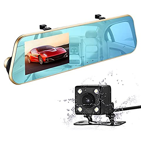 isYoung 1080P Full HD Car Video Recorder Mirro Dash Cam Rearview Mirror Cam with Front and Back Camera, G-Sensor, Loop Recording, 170 Degree (Mirror