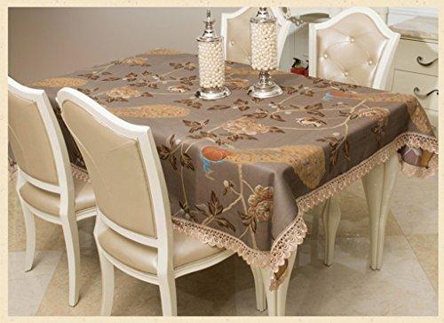 ZHAS Tischdecke Tischdecke Luxus Tuch Tuch Kaffee Tischdecke Tischdecke wählen (Farbe: Kaffee Farbe, Größe: 140*190 cm) (Spitze-stickerei Freistehende)