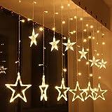 LED Stern Vorhang Schnur Licht, Skitic Weihnachtsfenster Lichter mit 12 Sterne 138 LED im Freien Wasserdichtes Verbindbares Kupfernes Fenster Beleuchtet Dekoration für Hochzeit, Weihnachten, Party, Haus (Warmweiß)