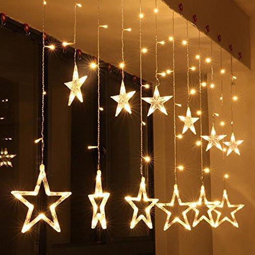 LED Stern Vorhang Schnur Licht, Skitic Weihnachtsfenster Lichter mit 12 Sterne 138 LED im Freien Wasserdichtes Verbindbares Kupfernes Fenster Beleuchtet Dekoration für Hochzeit, Weihnachten, Party, Haus (Fenster Dekorationen)